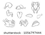 fresh chicken meat  | Shutterstock .eps vector #1056797444