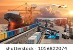 logistics global technology... | Shutterstock . vector #1056822074