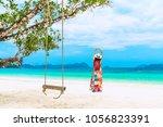 landscape of natural white sand ... | Shutterstock . vector #1056823391