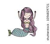 doodle pretty woman siren with... | Shutterstock .eps vector #1056829721