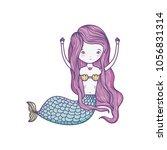 pretty woman siren with hands up | Shutterstock .eps vector #1056831314