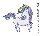 sweet unicorn with beautiful... | Shutterstock .eps vector #1056831344