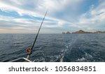 fishing rod on charter fishing...   Shutterstock . vector #1056834851