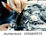 computer motherboard and... | Shutterstock . vector #1056849575