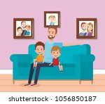 best father in the living room... | Shutterstock .eps vector #1056850187