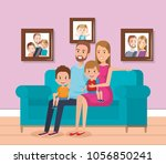 cute family happy in the living ... | Shutterstock .eps vector #1056850241