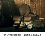 old book clock pipe wooden... | Shutterstock . vector #1056856625