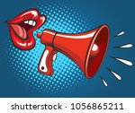 girl megaphone screaming.... | Shutterstock .eps vector #1056865211