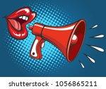 girl megaphone screaming.... | Shutterstock .eps vector #1056865211