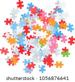 scattered jigsaw puzzle | Shutterstock .eps vector #1056876641
