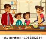 vector cartoon indian family... | Shutterstock .eps vector #1056882959