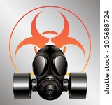 black gas mask with biohazard... | Shutterstock .eps vector #105688724