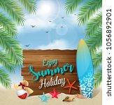 enjoy summer holidays banner... | Shutterstock .eps vector #1056892901