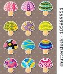 mushroom stickers | Shutterstock .eps vector #105689951