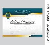 modern certificate design... | Shutterstock .eps vector #1056911681