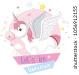 cute unicorn and pink sign with ... | Shutterstock .eps vector #1056912155