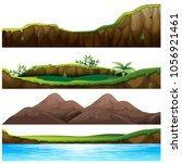 four views of mountain and... | Shutterstock .eps vector #1056921461