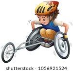boy on racing wheelchair... | Shutterstock .eps vector #1056921524