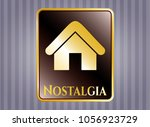 gold badge with home icon and... | Shutterstock .eps vector #1056923729