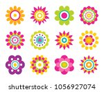 flowers blooming collection ... | Shutterstock .eps vector #1056927074