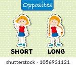 opposite words for short and...   Shutterstock .eps vector #1056931121