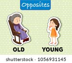 opposite words for old and... | Shutterstock .eps vector #1056931145