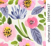 seamless watercolor floral... | Shutterstock . vector #1056936617