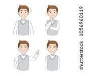 set actions cartoon cute... | Shutterstock .eps vector #1056960119