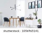 wooden dining table  grey... | Shutterstock . vector #1056965141
