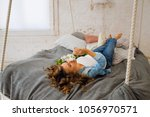 posing pregnant woman with...   Shutterstock . vector #1056970571