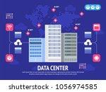 data center cloud computer... | Shutterstock .eps vector #1056974585