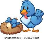 Mother Blue Bird Feeding Babie...