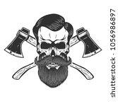 lumberjack skull with crossed... | Shutterstock .eps vector #1056986897