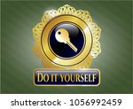 gold shiny emblem with key... | Shutterstock .eps vector #1056992459
