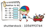 addition worksheet with boy and ...   Shutterstock .eps vector #1056993764
