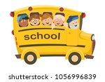 school bus and pupils | Shutterstock .eps vector #1056996839