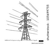 power lines. hand drawn sketch... | Shutterstock .eps vector #105699755