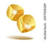 gold metal dice. two golden...   Shutterstock .eps vector #1057028189