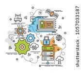 flat colorful design concept... | Shutterstock .eps vector #1057033187