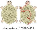 easy tortoise maze for younger... | Shutterstock .eps vector #1057034951