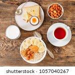 breakfast in the morning  on a... | Shutterstock . vector #1057040267