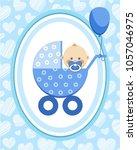 a little boy in a blue stroller.... | Shutterstock .eps vector #1057046975