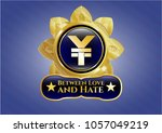 golden emblem with yuan icon... | Shutterstock .eps vector #1057049219