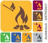 campfire silhouette icon.... | Shutterstock .eps vector #1057053617