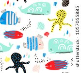 Stock vector seamless childish pattern with fish octopust whales and hand drawn shapes creative under sea 1057055885