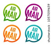 airmail round buttons. circle... | Shutterstock .eps vector #1057059659