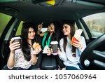 beautiful stylish girls are...   Shutterstock . vector #1057060964