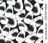 angry shark fish with open... | Shutterstock .eps vector #1057074605