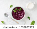 beetroot cream soup in bowl on... | Shutterstock . vector #1057077179