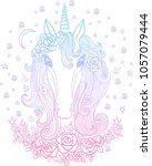 beautiful unicorn with flowers... | Shutterstock .eps vector #1057079444
